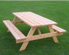 Benkebord sittegruppa i eik med lave benker