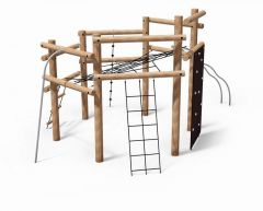Robinia Klatrestativ 6 m/nett og klatrevegg