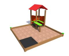 Sandkasse 3 x 3 m med lekehus