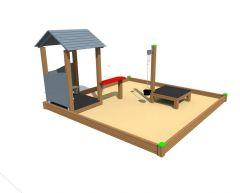 Sandkasse 3,5 x 3,5 m med lekehus