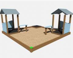Sandkasse 4 x 4 m med 2 lekehus
